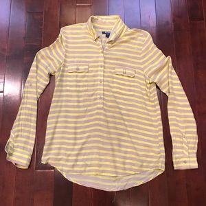 Old Navy Stripe Henley Long Sleeve Shirt Medium